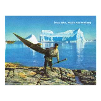 カヤックおよび氷山を持つイヌイット族の人 ポストカード
