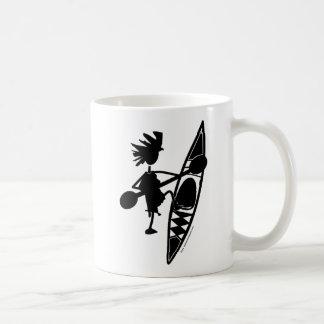 カヤックのカヌーの嬉しいシルエット コーヒーマグカップ
