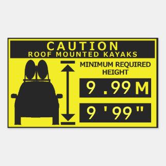 カヤックの高さの警告のステッカー 長方形シール