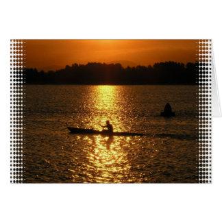 カヤックを漕ぐ日没 カード