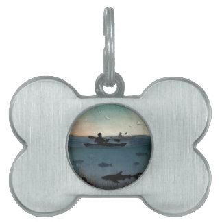 カヤックを漕ぐ海 ペットネームタグ
