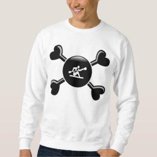 カヤックを漕ぐ骨が交差した図形 スウェットシャツ