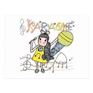 カラオケの女の子 ポストカード