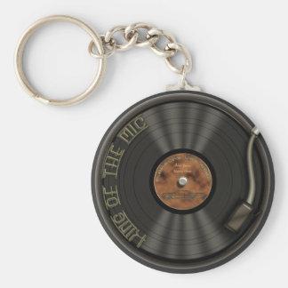 カラオケLPのレコードKeychain ベーシック丸型缶キーホルダー