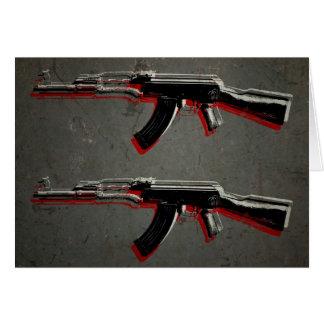カラシニコフ自動小銃の突撃銃のポップアート カード