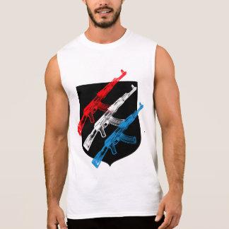 カラシニコフ自動小銃、赤、白および青 袖なしシャツ