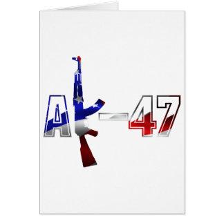 カラシニコフ自動小銃AKMの突撃銃のロゴの赤い白およびBlue.pn カード