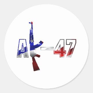 カラシニコフ自動小銃AKMの突撃銃のロゴの赤い白およびBlue.pn ラウンドシール