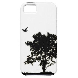 カラスのIphoneの場合が付いている白黒オークの木 iPhone SE/5/5s ケース