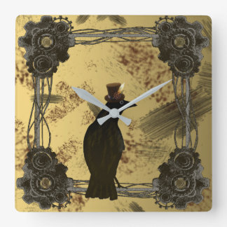 カラスのSteampunkの混合メディアの芸術のスタイルの時計 スクエア壁時計