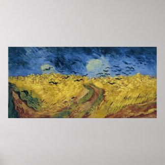 カラス(1890年)が付いているフィンセント・ファン・ゴッホの小麦畑 ポスター