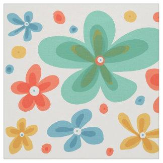 カラフルでお洒落で抽象的な花の生地 ファブリック