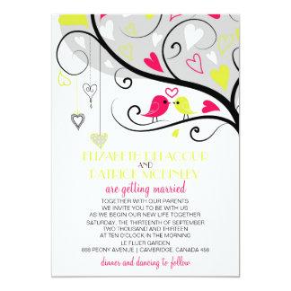 カラフルでお洒落な愛鳥の結婚式招待状 カード