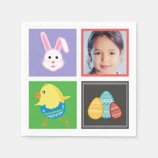 カラフルでかわいいイースターのウサギおよび卵のカスタムの写真 スタンダードカクテルナプキン
