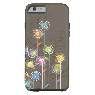 カラフルでかわいいレトロによってはブラウンの背景が開花します iPhone 6 タフケース