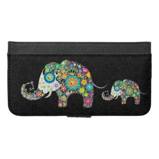 カラフルでかわいいレトロによっては象が開花します iPhone 6/6S PLUS ウォレットケース