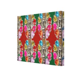 カラフルでかわいい宝石装飾的なパターングラフィック キャンバスプリント