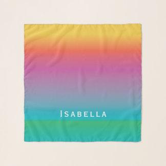 カラフルでかわいい虹の勾配のグラデーションなモノグラム スカーフ