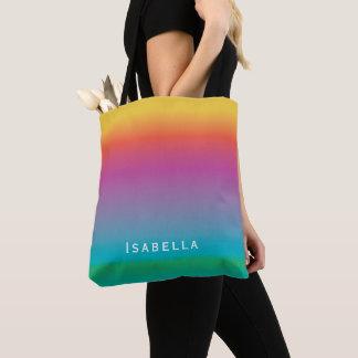 カラフルでかわいい虹の勾配のグラデーションなモノグラム トートバッグ