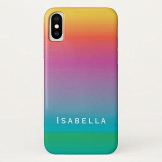 カラフルでかわいい虹の勾配のグラデーションなモノグラム iPhone X ケース