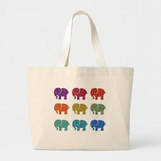 カラフルでかわいく粋でガーリーな象 ラージトートバッグ