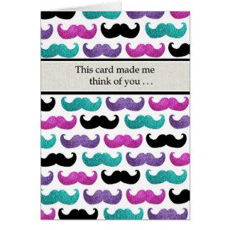 カラフルできらきら光るな髭パターン(模造のなグリッター) カード
