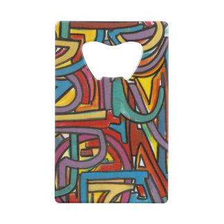 カラフルではっきりしたで幾何学的で抽象的な近代美術 クレジットカード 栓抜き