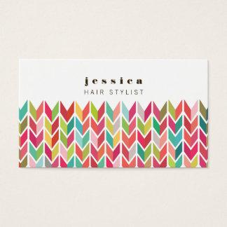 カラフルでアステカな矢パターン美容師カード 名刺