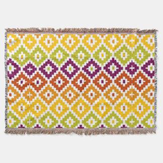 カラフルでアステカな種族のプリントのイカットのダイヤモンドパターン 毛布