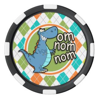 カラフルでアーガイル柄のなパターンのおもしろいな恐竜 カジノチップ