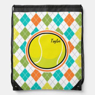 カラフルでアーガイル柄のなパターンのテニス・ボール ナップサック