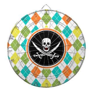 カラフルでアーガイル柄のなパターンの海賊旗 ダーツボード