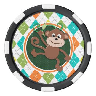 カラフルでアーガイル柄のなパターンの猿 ポーカーチップ