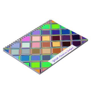 カラフルでカスタマイズ可能な正方形のタイルの芸術 ノートブック