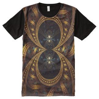 カラフルでサイケデリックな金ゴールドパターン オールオーバープリントT シャツ
