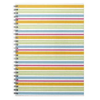 カラフルでストライプのなノート(大きいオレンジのストライプ) ノートブック