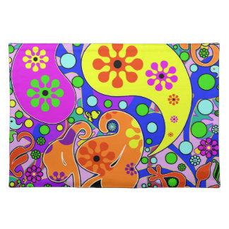 カラフルでファンキーな花およびペイズリーのランチョンマット ランチョンマット