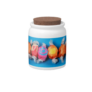カラフルで包まれたなタフィーのプリントキャンデーの瓶 キャンディー皿
