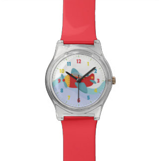 カラフルで及び愛らしい漫画の飛行機 腕時計