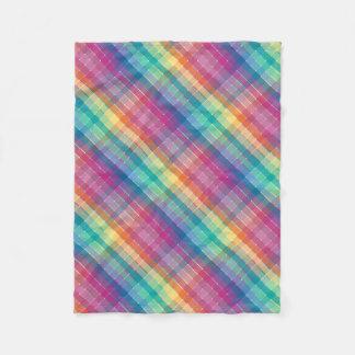 カラフルで多彩な虹の格子縞は縞で飾ります フリースブランケット
