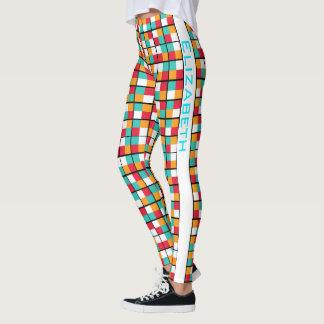 カラフルで幾何学的なブロックの順列パターン レギンス