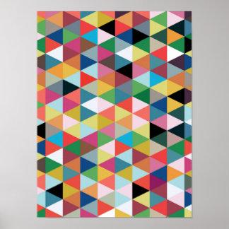 カラフルで幾何学的な三角形のパターン(の模様が)あるなポスター プリント