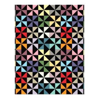 カラフルで幾何学的な風車の黒のスクラップブックの紙 レターヘッド