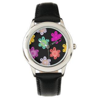 カラフルで明るい花 腕時計