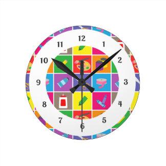 カラフルで明るい芸術および技術パターン子供 ラウンド壁時計