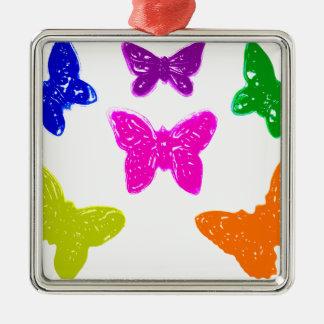 カラフルで明るい蝶 メタルオーナメント