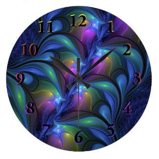 カラフルで明るく抽象的で青いピンクの緑のフラクタル ラージ壁時計