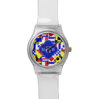 カラフルで航海のなシグナルフラグの王室のな3Iモノグラム 腕時計