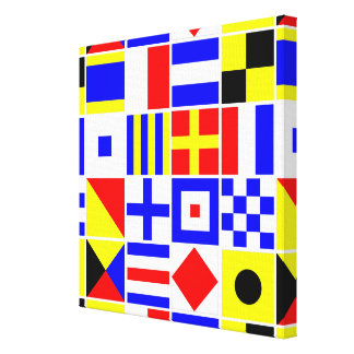 カラフルで航海のなシグナルフラグパターン キャンバスプリント