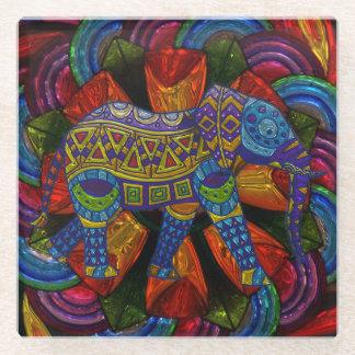 カラフルで華美な象および曼荼羅 ガラスコースター